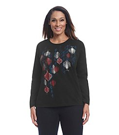 Breckenridge® Plus Size Long Sleeve Holiday Tee