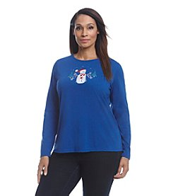 Breckenridge Plus Size Long Sleeve Holiday Tee