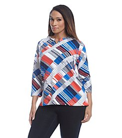Alfred Dunner Plus Size Cape Hatteras Diagonal Geometric Knit Tee