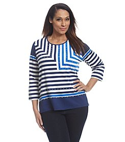 Alfred Dunner® Plus Size Cape Hatteras Border Stripe Knit Tee