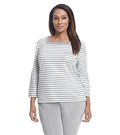 Alfred Dunner® Plus Size Alpine Lodge Embellished Stripe Knit Tee