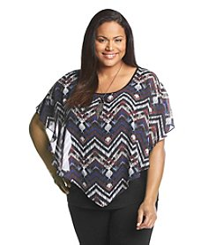 AGB® Plus Size Zigzag Popover Top