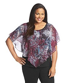 AGB® Plus Size Abstract Print Popover Top