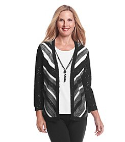 Alfred Dunner Oscar Night Chevron Stripe Layered Look Sweater
