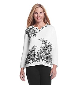 Alfred Dunner® Madrid Flocked Floral Sweater