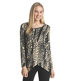 Notations® Animal Print Sharkbite Knit Top