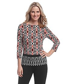 Ruby Rd.® Ikar Border Print Knit Top