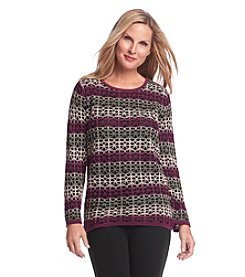 Alfred Dunner® Calabria Lace Stripe Sweater