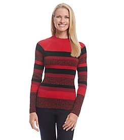 Studio Works® Stripe Ribbed Mockneck Sweater