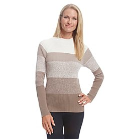Studio Works® Colorblock Stripe Mock Neck Sweater