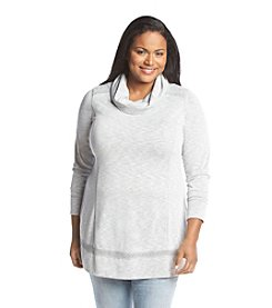 Relativity® Plus Size Cowlneck Lace Tunic