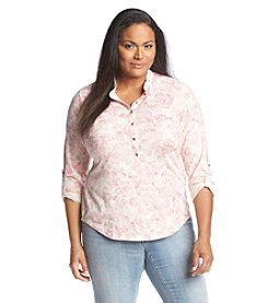 Relativity® Plus Size Lily Print Henley
