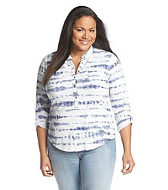 Relativity® Plus Size Abstract Stripe Henley