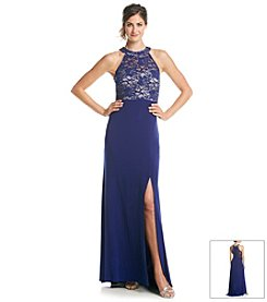 NW Collections Lace Halter Gown