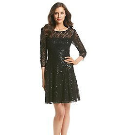 S.L. Fashions Lace Sequin Party Dress