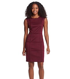 London Times® Petites' Piping Detail Sheath Dress