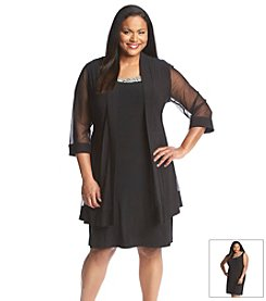R&M Richards® Plus Size Beaded Neckline Jacket Dress