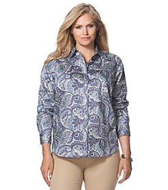 Chaps® Plus Size Paisley Sateen Shirt