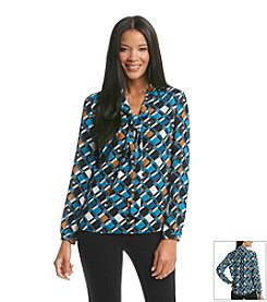 Nine West® Printed Tie-Neck Blouse