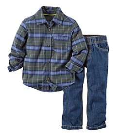 Carter's® Baby Boys' 3-24M Plaid Top with Denim Pants Set