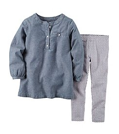 Carter's® Baby Girls' Chambray Top with Geo Print Pants
