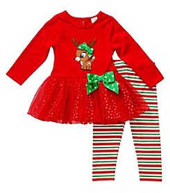 Sweet Heart Rose® Baby Girls' Reindeer Cutie Leggings Set