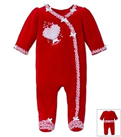 Little Me® Baby Girls' 3-9M First Christmas Holly Heart Footie