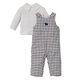 Little Me® Baby Boys' 3-9M Plaid Frenchie Overalls Set