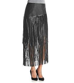Kensie® Faux Leather Fringe Skirt