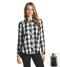 Kensie® Check Lace Back Shirt