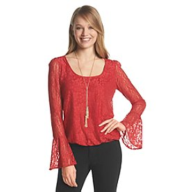 Sequin Hearts® Lace Necklace Top