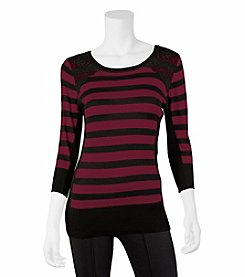 A. Byer Striped Lace Sweater