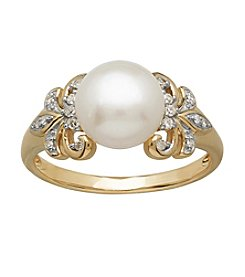 Cultured Freshwater Pearl Ring In 10k Yellow Gold
