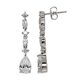 Balentino® Sterling Silver White Swarovski Cubic Zirconia Drop Earrings