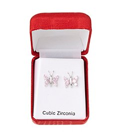 Holiday Cubic Zirconia Silvertone Pink Butterfly Earrings