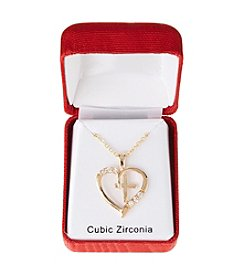 Holiday Cubic Zirconia Goldtone Heart Pendant