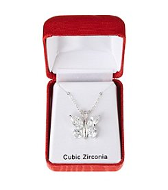 Holiday Cubic Zirconia Silvertone Butterfly Pendant