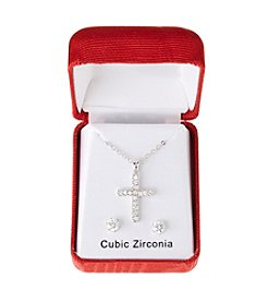 Holiday Cubic Zirconia Silvertone Pendant And Earrings Set