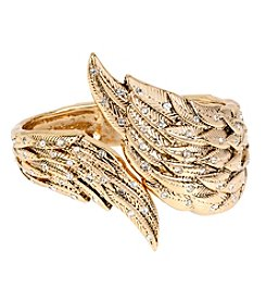 Betsey Johnson® Goldtone Crystal Wing Hinged Bangle Bracelet