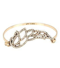 Betsey Johnson® Goldtone Pave Filigree Wing Bangle Bracelet