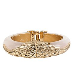 Betsey Johnson® Goldtone Crystal Wing Wide Hinged Bangle Bracelet