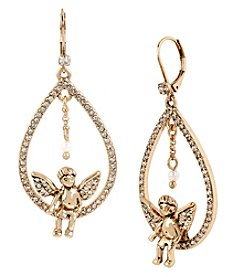 Betsey Johnson® Goldtone Angel Teardrop Orbital Drop Earrings