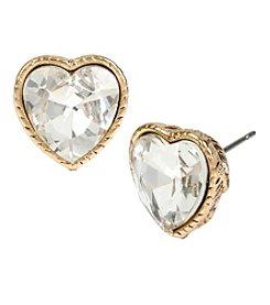 Betsey Johnson® Goldtone Crystal Heart Stud Earrings