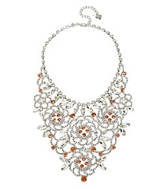 Betsey Johnson® Silvertone Crystal Faceted Stone Bib Frontal Necklace