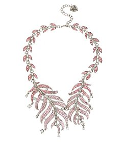 Betsey Johnson® Silvertone Pave Feather Collar Necklace