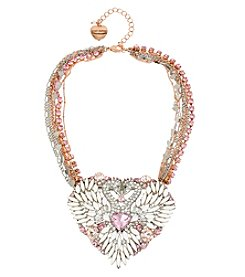 Betsey Johnson® Two Tone Pave Swan Heart Pendant Necklace