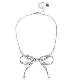 Betsey Johnson® Silvertone Pave Bow Frontal Necklace