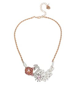Betsey Johnson® Rose Goldtone Pave Swan & Rose Frontal Necklace