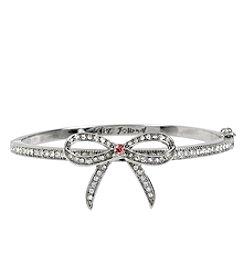 Betsey Johnson® Silvertone Pave Bow Hinged Bangle Bracelet
