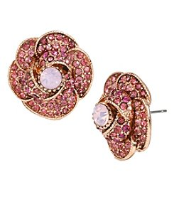 Betsey Johnson® Rose Goldtone Pave Rose Stud Earrings